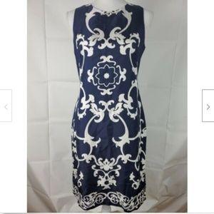 Banana Republic Dress 4 Silk Blue White Midi Lined